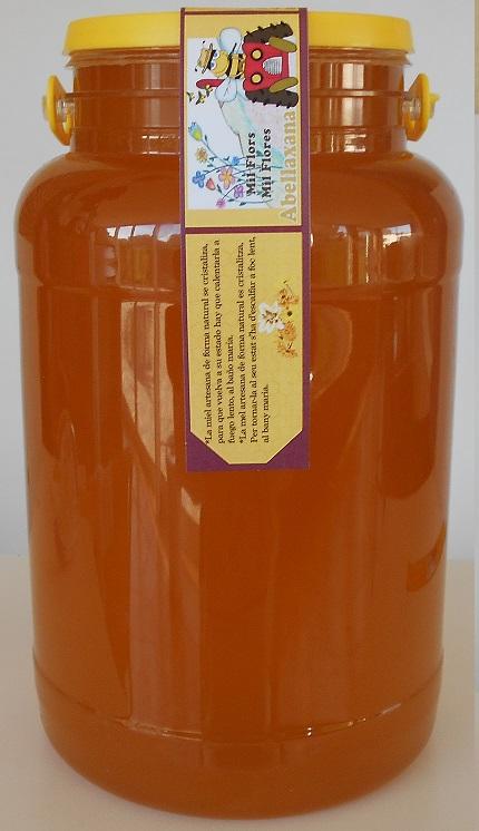 Miel cruda de Mil Flores 5 Kg. Artesanal.